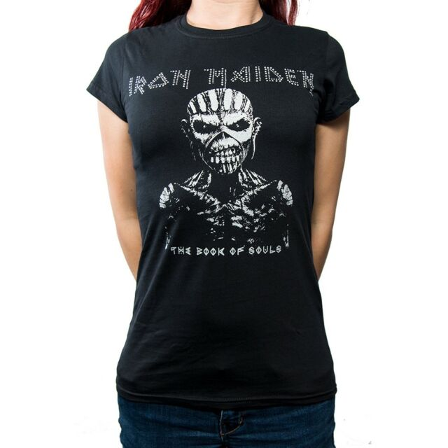 d5850e222a2 Womens Iron Maiden Diamante Souls Tour Skinny T Shirt (black) - Medium -  Book