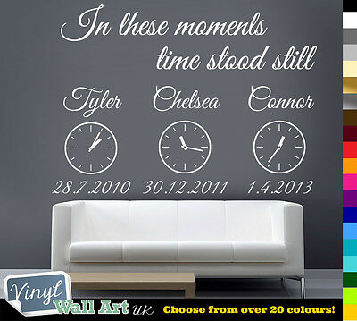 in These Moments Time Stood Still + Clocks Vinyl Wall Art Sticker Decal + £0 P&P