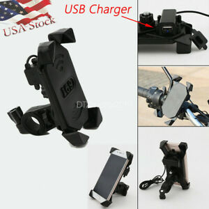 Universal-Motorcycle-Bike-ATV-Mobile-Cell-Phone-Holder-Mount-w-USB-Charger