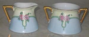 Vintage-Favorite-Bavaria-Creamer-amp-Sugar-Bowl-Roses-Pink-Blue-Yellow-Gold-Cream
