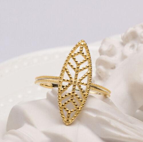 I04 Ring Silber 925 vergoldet oval mit geometrischem Muster größenverstellbar