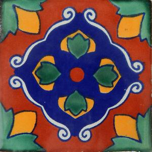 "One Handmade Mexican Tile Sample Talavera Clay 4"" x 4"" Tile C337"