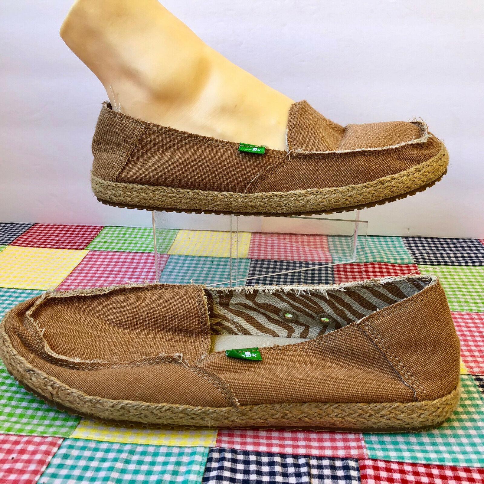 Sanuk Tan FIONA Sidewalk Surfer Loafer  9  Braided Jute & Linen Flats Womens