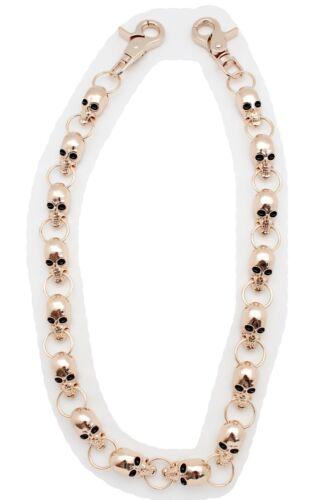 Hommes Porte-Feuille Chaîne Porte-Clé Solide Métal or Squelette Tête de Mort