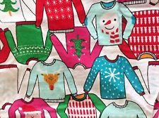 Small Christmas Sweater Print Flannel Pajama 2 pc Set Santa Reindeer Snowman NWT