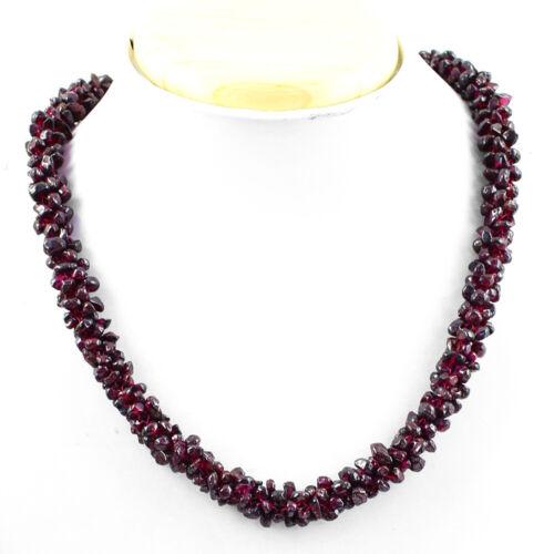 Femmes Bijoux 478.00 cts Earth mined Non traités Rouge Grenat Perles Mala NK 55E106