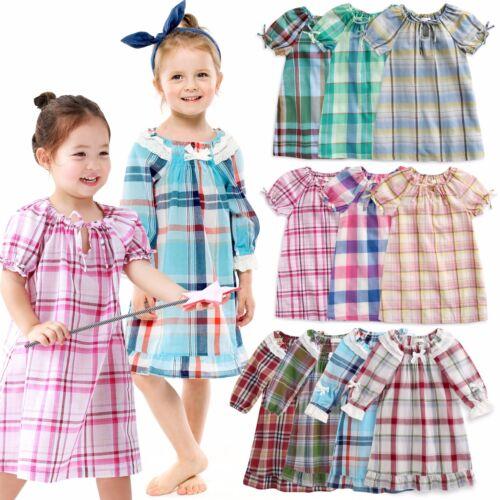 "Vaenait Baby Kids Girls Short Sleeve One-piece Pajama /""Cozy Check set/"" 2T-10T"