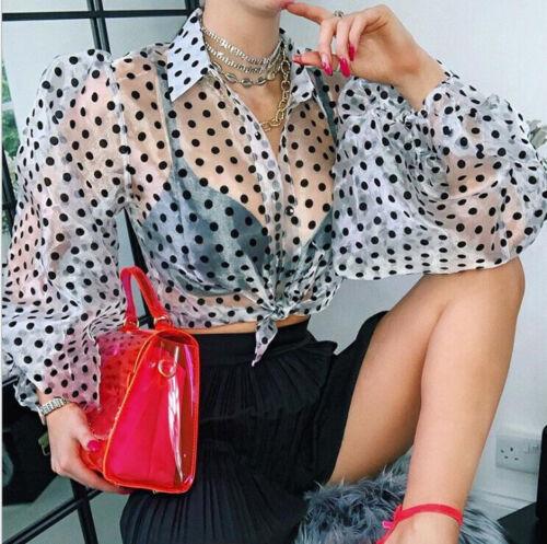 Womens See-through Sheer Mesh Dot Blouse Puff Long Sleeve T-shirt Tops Shirts