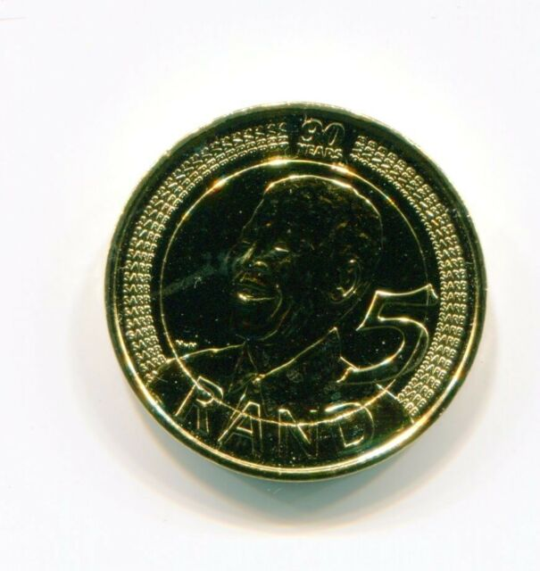Nelson Mandela Gold Plated R5 Year 2008 90th Birthday Coin Madiba Historical