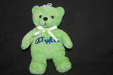 """Get Well Teddy Bear Green Blue Embroidered Plush Soft Bean Bag 7"""" Toy Lovey"""