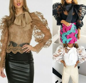 Women-Ladies-Tie-Up-Knot-Pussy-Bow-Trim-Floral-Lace-Sheer-Puff-Sleeve-Blouse-Top
