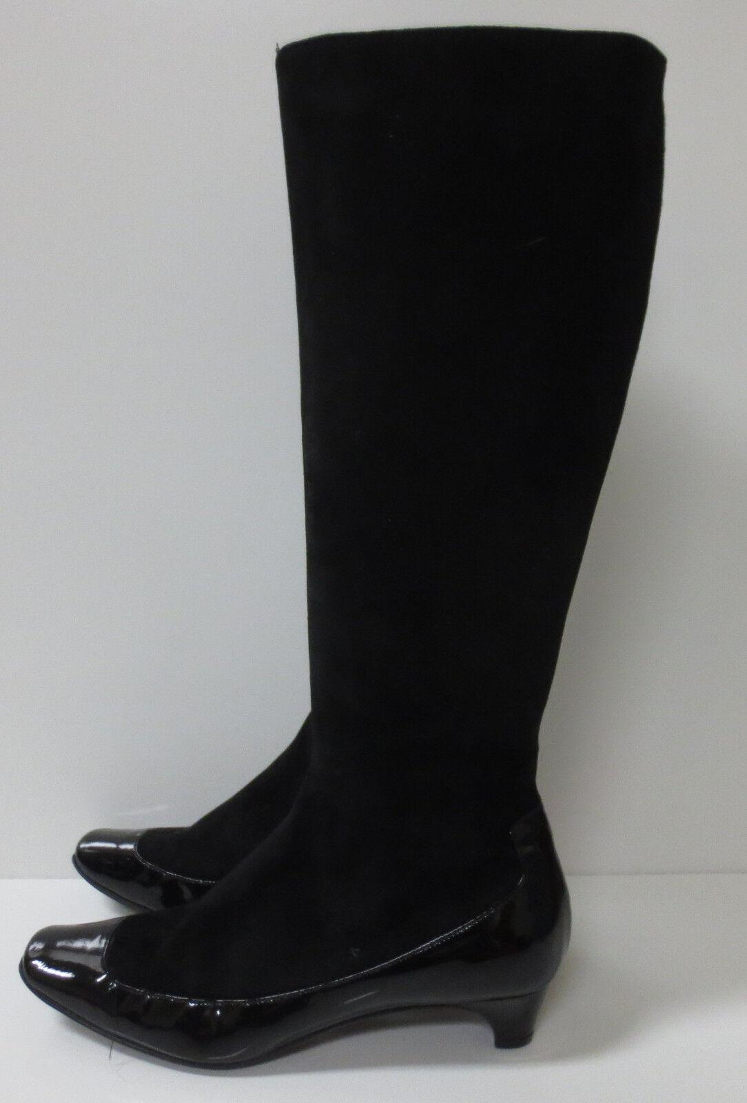 Elie Tahari Negro Gamuza & Charol botas Zapatos Eje de alto 36 M como nuevo