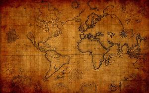 A3 poster vintage brown world map picture globe atlas print la imagen se est cargando cartel de a3 vintage marron globo de mapa gumiabroncs Gallery