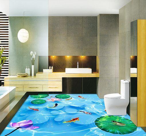 3D bluee River Lotus Fish Floor WallPaper Murals Wall Print Decal 5D AJ WALLPAPER