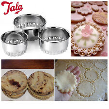 TALA 3 Biscuit Cookie Cutters Crinkled Round Shape Cutting Mold Pastry Metal NEW