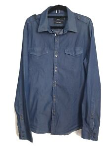 Men's CALIBRE  Blue 100% Cotton Slim Chambray Shirt Size L