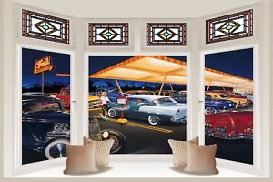 Huge-3D-Bay-Window-Rock-A-Billy-50-039-S-America-Diner-View-Wall-Sticker-Decal-1110