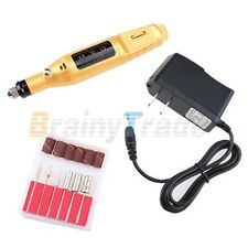 Gold Electric Pen-shape Nail Drill Art Manicure File Tool 6 BIT Acrylic UV Gel