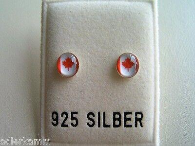 Tolle Länder Ohrstecker Kanada Aus 925 Er Silber - Wm Durchsichtig In Sicht