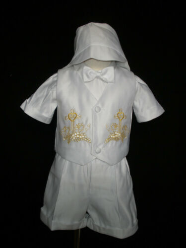 New Baby Boy Toddler Christening Baptism Outfit Size  0 1 2 3 4 Gold 0M-30M