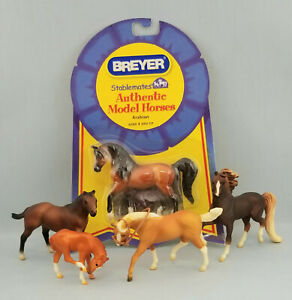 Breyer-Stablemates-Arabian-Quarter-Horse-Morgan-and-Foal-Model-Toy-Figurines