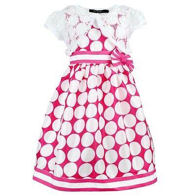 Girls Pink Polka Dot Sleeveless Dress /& Lace Bolero Shrug Set 2 3 4 5 6 7