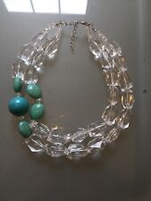 NWOT Faux Clear Quartz Bead And Turquoise Statement  Necklace Anthropologie
