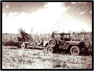 Ohio Post War Jeep on the Farm Threshing Operation New Metal Sign Toledo