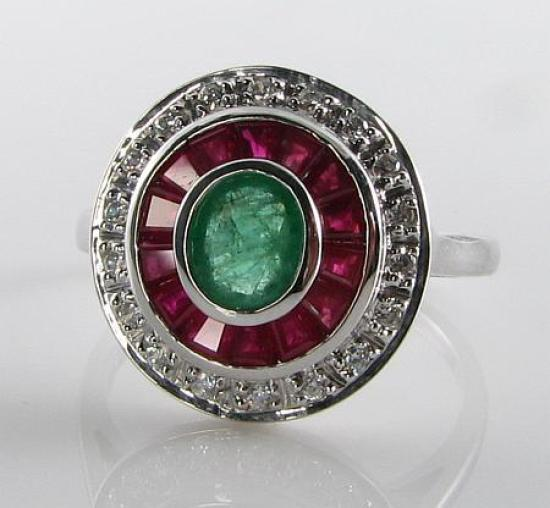 LARGE 9k 9CT WHITE gold EMERALD RUBY DIAMOND ART DECO INS TARGET RING FREE SIZE