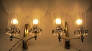 Mobiliar & Interieur Paar Lampe Vintage Wandlampe '60/'70er Jahre Messing Glas Lampen & Leuchten