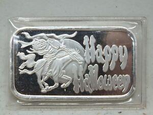 Happy-Halloween-Headless-Horseman-999-Silver-Art-Medal-1-oz-ingot-Bar-LE040