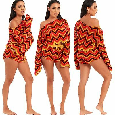 Donna Una Spalla Aztec Multi Zig Zag Abbigliamento Jogsuit Top Corto Set-mostra Il Titolo Originale Vendite Economiche 50%