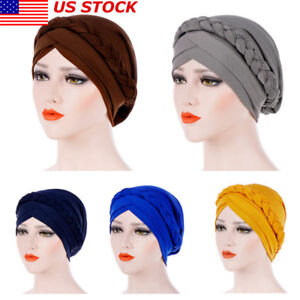 US-Women-Lady-Muslim-Braid-Head-Hijab-Turban-Wrap-Cover-Cancer-Chemo-Cap-Hat