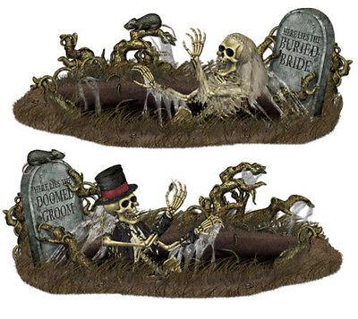 DOOMED BRIDE & GROOM Scene Setter Halloween Party wall decoration kit 10' graves