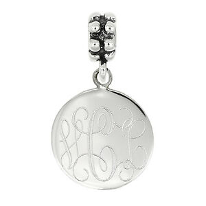 aa702c9cb709b Image is loading Sterling-Silver-Personalize-Engravable-Circle-Round-Disc -BEAD-