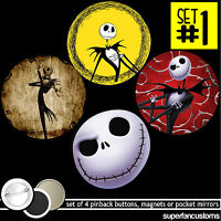 Nightmare Before Christmas Set Of 4 Buttons Or Magnets Or Mirrors The Jack 1340