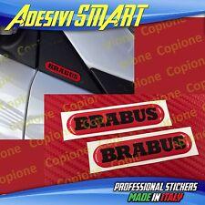 2 Adesivi Resinato Sticker 3D BRABUS Smart Rosso e Nero Sportello Spechietto