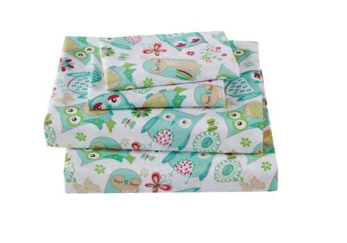 Fancy Linen 3pc Crib//Toddler Bed Sheet Set Girls Owl Teal Green Aqua New