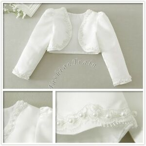 942032be7 Flower Girl Bolero Shrug Short Cardigan Jacket Bridesmaid Formal ...