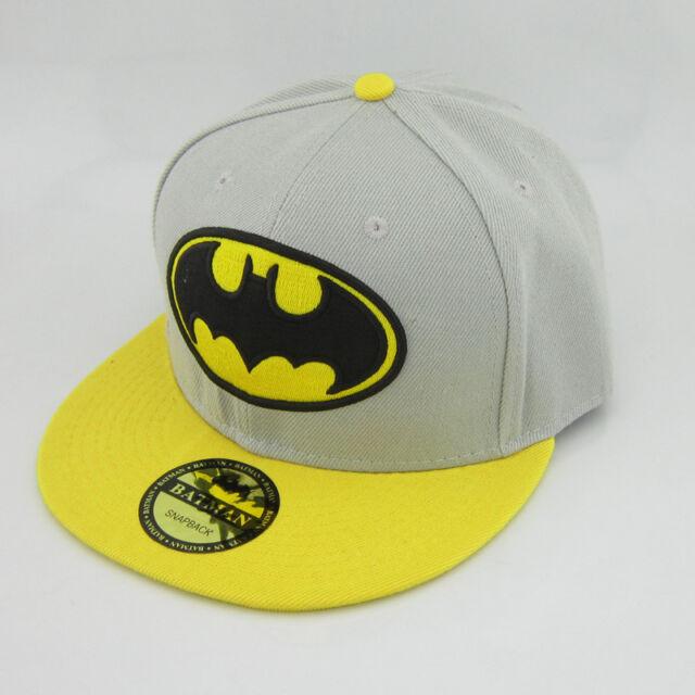 New DC Comics Grey Yellow Adjustable Snapback Batman Bill Hat cap flat baseball