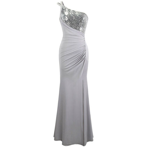 Angel-fashions Women/'s One Shoulder Ruched Pleated Sequins Split Formal Gown 399
