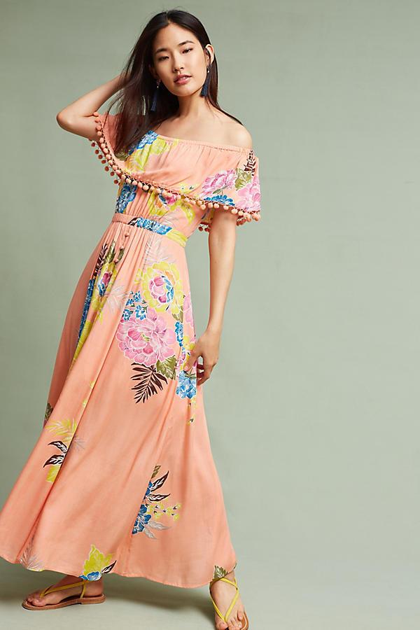 NWT ANTHROPOLOGIE FARM RIO Woherren Pom Pom Off-the-shoulder Maxi Dress