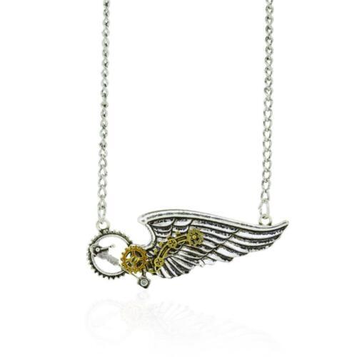Halskette mit schönem Steampunk Anhänger Flügel mit Zahnräder