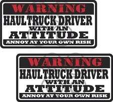 """2 - 3"""" Haul Truck Warning Tools Motorcycle Decal Hard Hat Sticker WS1"""