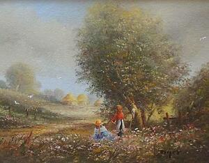 Fine-Ted-Dyer-Original-Oil-Painting-Rural-Countryside-Landscape-With-Children