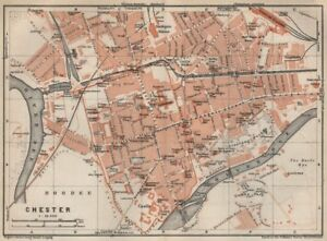 MéThodique Chester Ville City Plan. Grosvenor Precinct Handbridge. Cheshire 1927 Old Map-afficher Le Titre D'origine