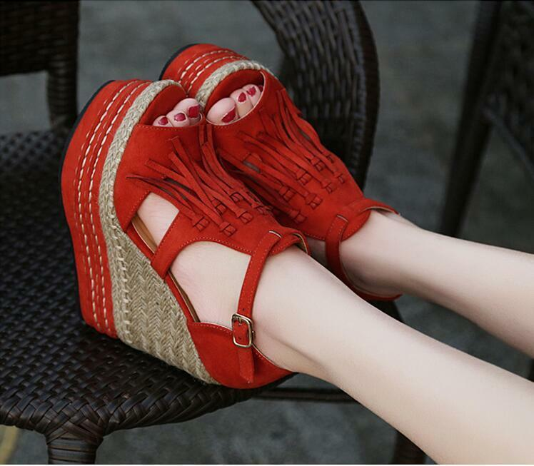 Hot Womens Summer Peep Toe Wedge Heels Platform Tassel Casual Sandals shoes Size