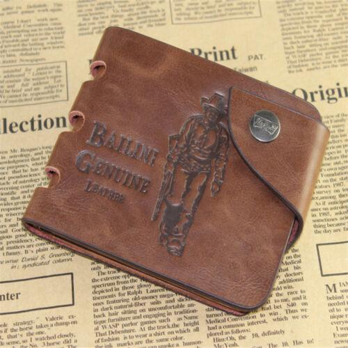 Men/'s Genuine Leather Bifold Wallet ID Credit Card Holder Mini Purse Money Clip