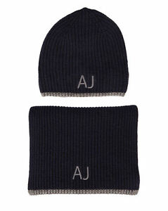 9cd8b014d2a Armani Jeans Mens Navy Blue Grey Scarf and Hat Set with Gift ...
