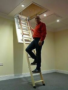 Deluxe Wooden Loft Ladder With Twin Handrails Frame 1100 X 700mm Floor To Up